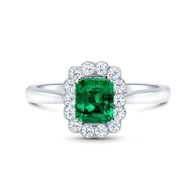 Anillo de Esmeralda Oro Blanco y brillantes Green Kaori