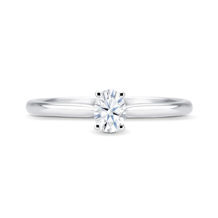 """Solitario """"Oval S"""" Oro Blanco con diamante central talla oval"""