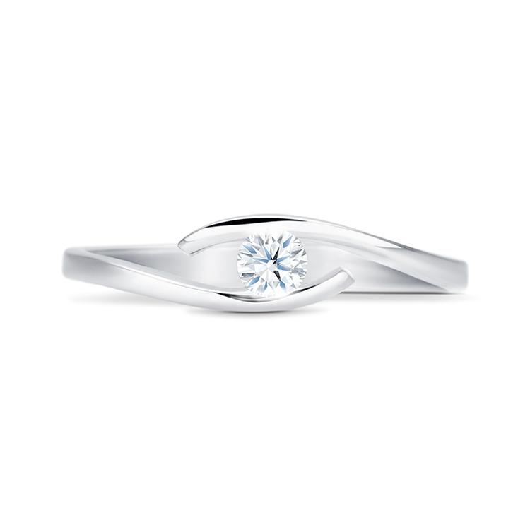 Anillo Moderno Oro Blanco con Diamante HIKARI - SC 169