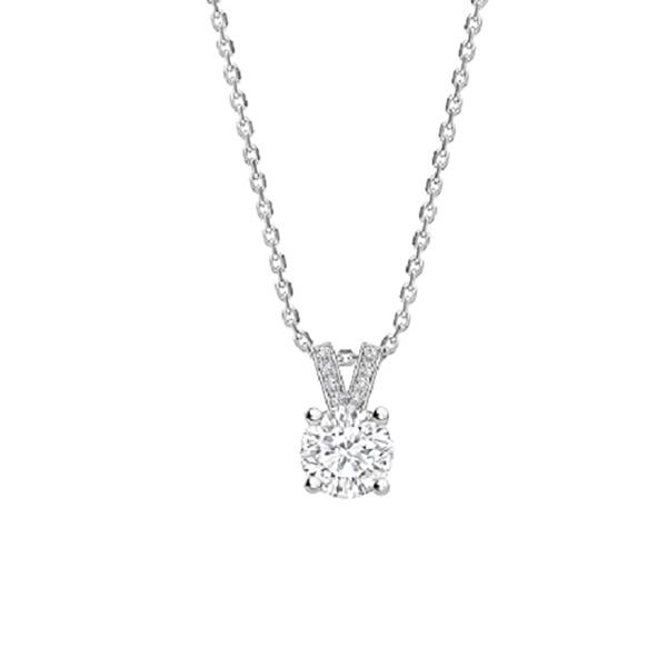 """Colgante """"Eiffel"""" con Diamante central en garras y oro blanco 18K - CR 16 OB"""