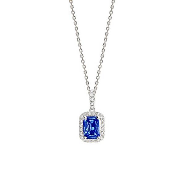 "Colgante de oro blanco ""Blue Splendor"" con Zafiro y Diamantes - CR 4 ZAF"