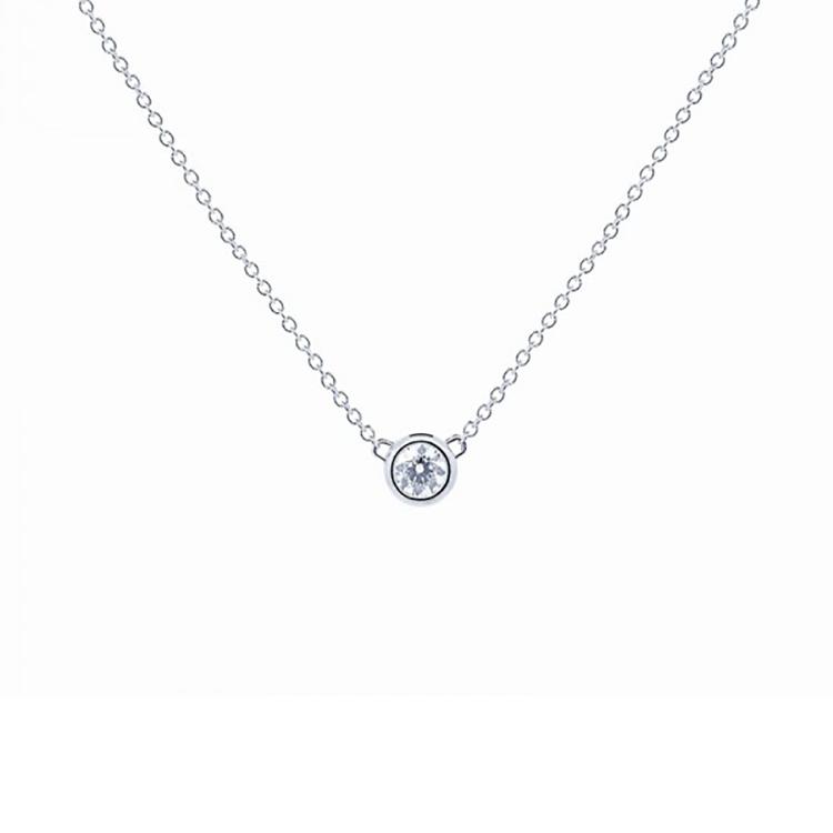 Colgante Diamante Oro blanco chatón CBR 1