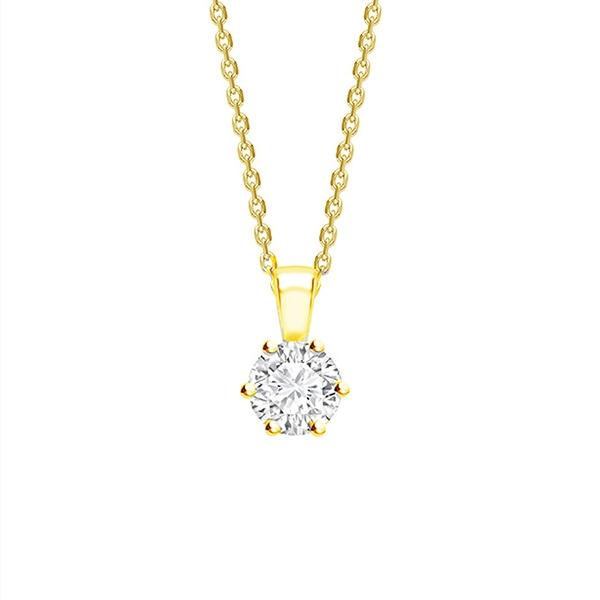 "Collar ""Florencia"" en garra con Diamante en Oro 18K desde 0,10 cts"