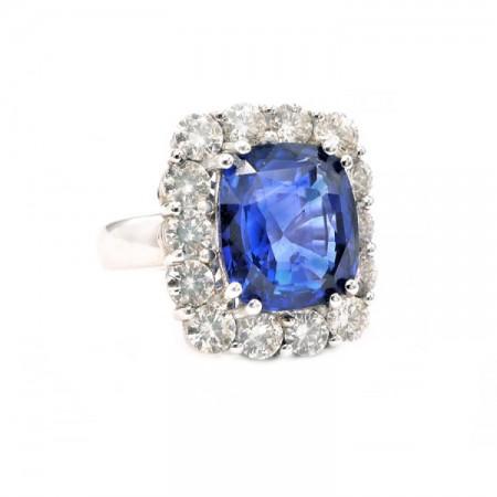 anillo zafiro y orla brillantes 4