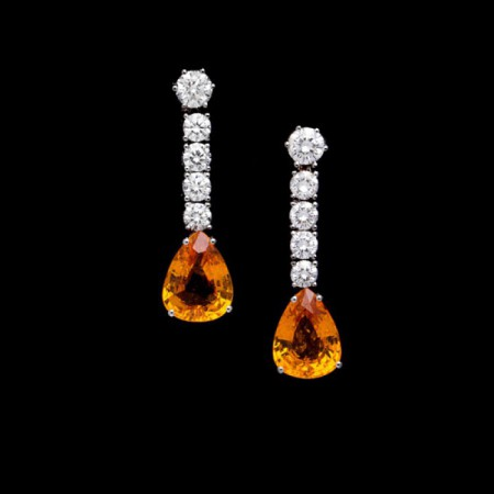 pendientes zafiros orange y brillantes 3