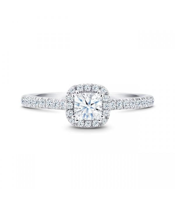 "Anillo de pedida con diamantes talla princesa de precioso diseño ""Kyoto"""