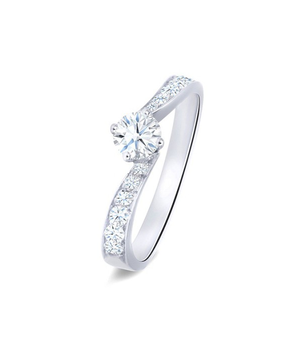 """Anillo """"Look"""" oro blanco 18k diamantes diseño clásico elegante"""