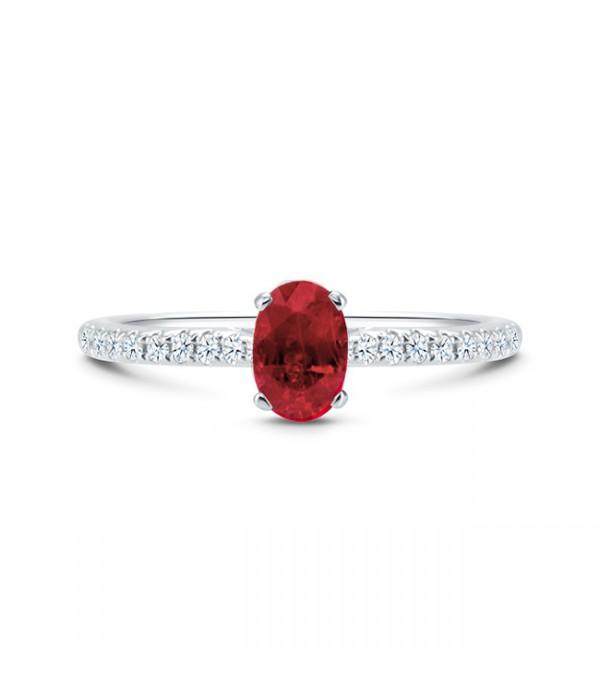 """Anillo con Rubí oval de color rojo intenso en oro blanco y diamantes """"CAPRI"""""""