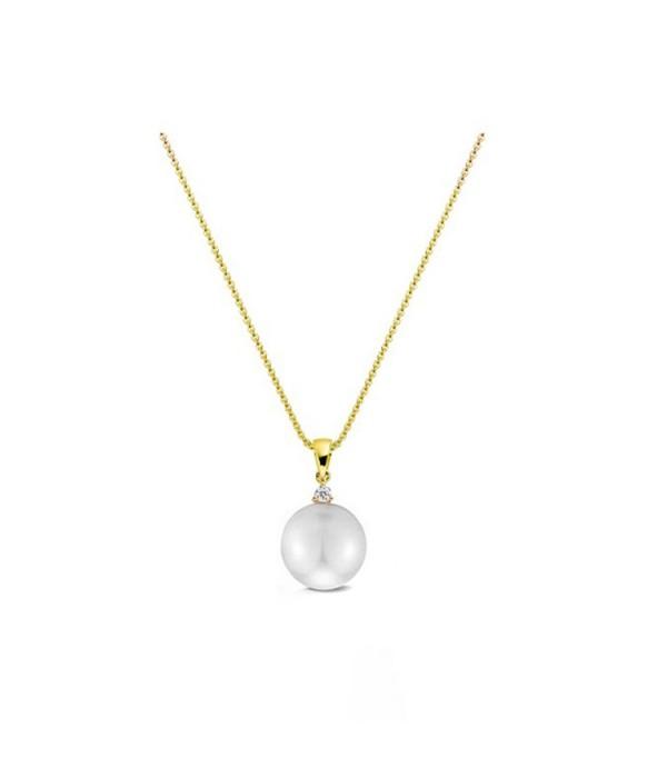 Colgante de Oro Amarillo con Diamante y Perla