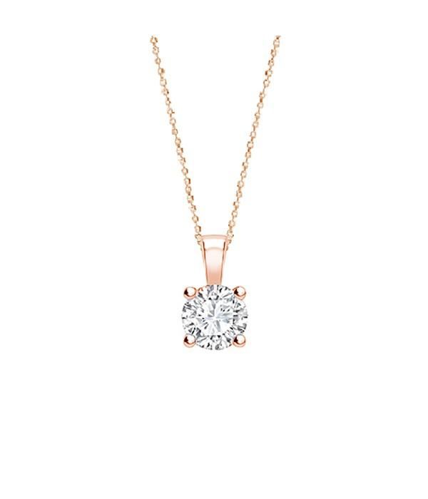 """Colgante """"Rose Midori """" Diamante oro rosa 4 garras - CR 1 OR"""
