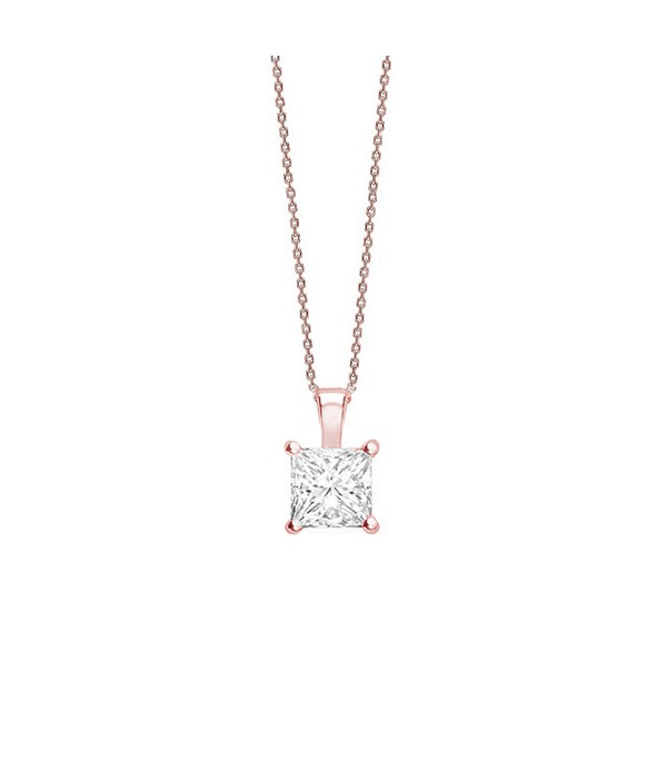 "Colgante "" Rose Surya"" en garra Diamante talla Princesa - CR 15 OR"