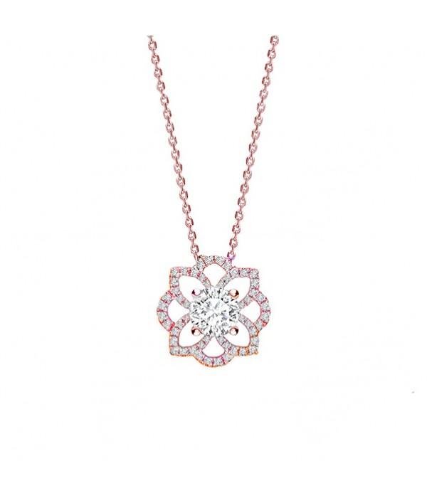 """Colgante flor """"Rose Indira"""" oro rosa y Brillantes   - CR 14 OR"""