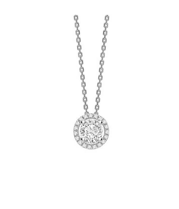 "Colgante "" Sun"" Diamante con orla oro blanco- CR 5 OB"