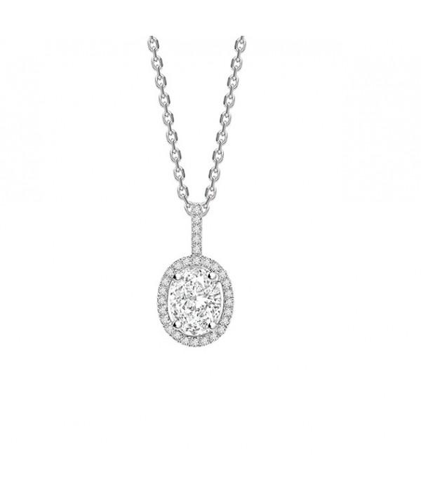 "Colgante ovalado Diamantes oro blanco "" Lady"" - CR 8 OB"