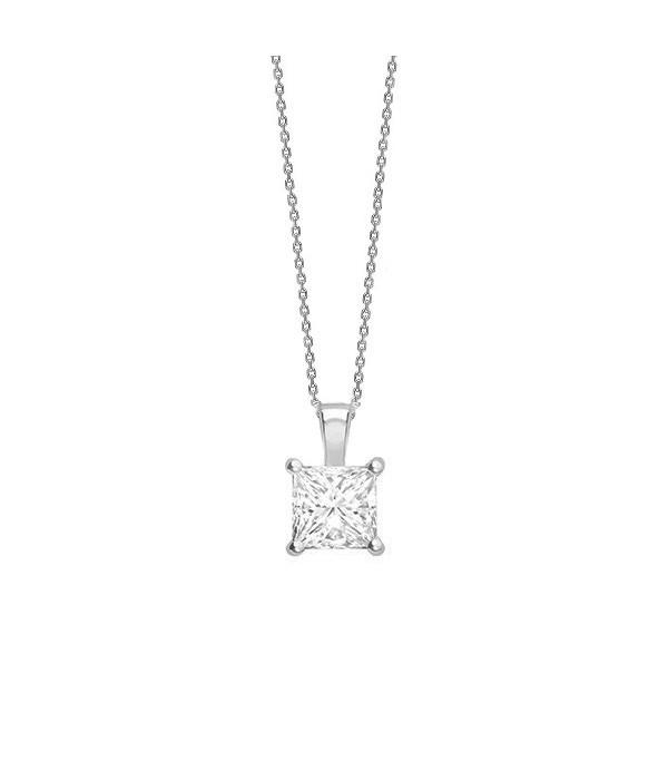 Colgante talla Princesa Diamante oro blanco - CR 15 OB