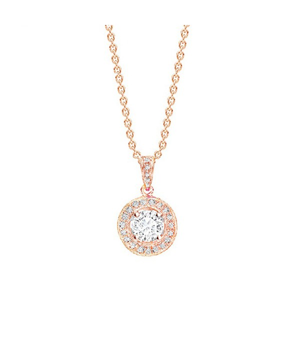 "Colgante ""Rose Suntory"" en oro rosa de 18K con Diamante central y orla  - CR 21 OR"