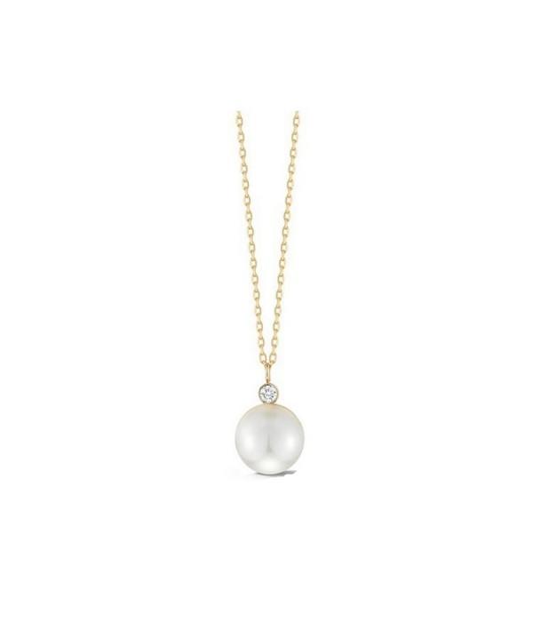 Collar en oro amarillo con perla y brillante de 0,08 ct