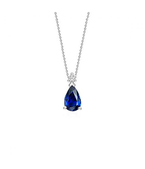 """Collar con Perilla de zafiro azul y diamante """"Blue Drop"""" - CR 9 ZAF"""