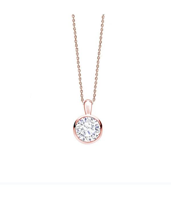 Collar oro rosa Brillante en Chatón CR 2 OR