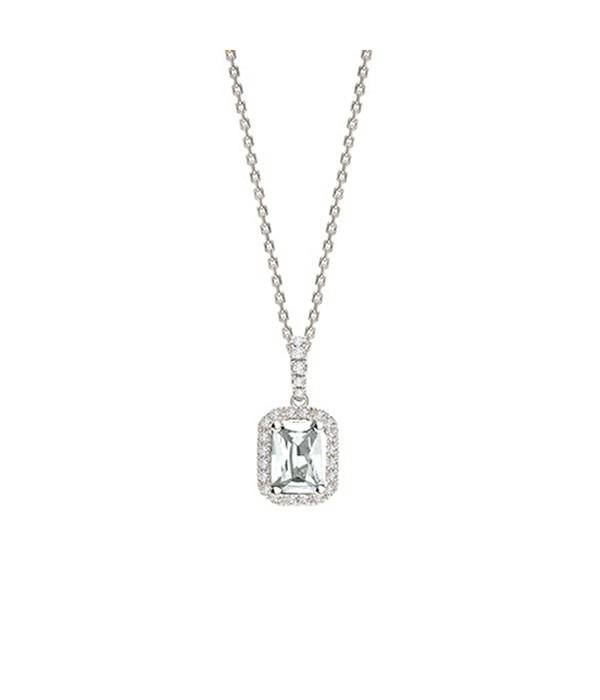 Collar Oro Blanco Diamante talla Esmeralda - CR 4