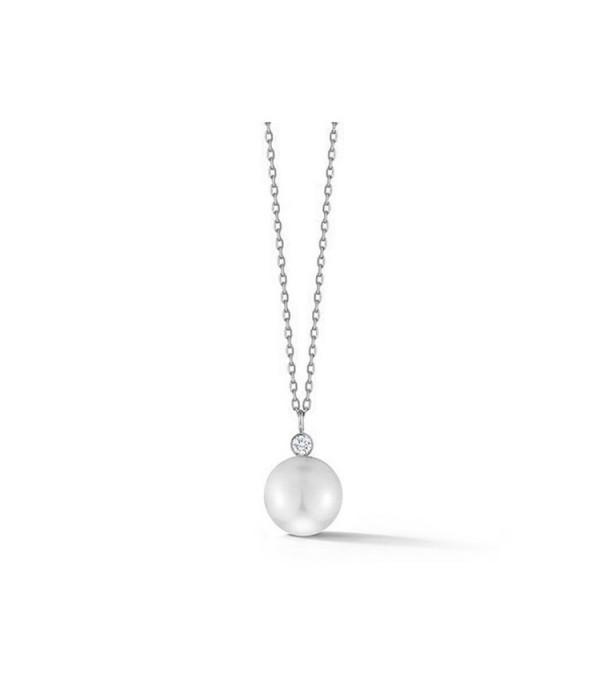 Gargantilla en Oro blanco con Perla redonda y diamante de 0,08 ct