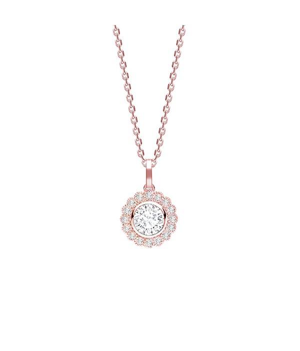 """Gargantilla Rosetón """" Osaka"""" Brillantes oro rosa - CR 13 OR"""