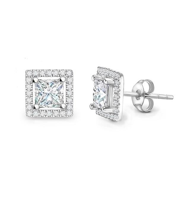"""Pendiente """"Brickell"""" oro blanco con diamantes Talla Princesa y Orla de Brillantes"""