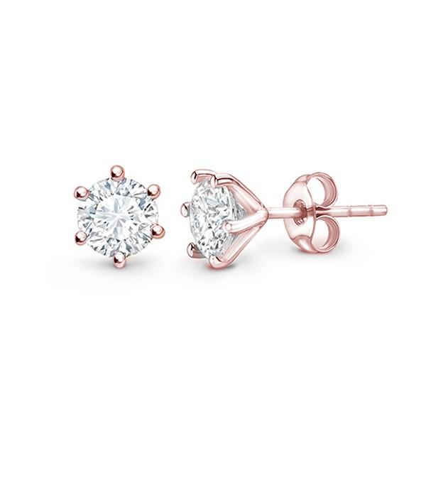 """Pendientes """"Rose Harmony"""" oro rosa y brillantes pequeños en garras - PR 9 OR"""