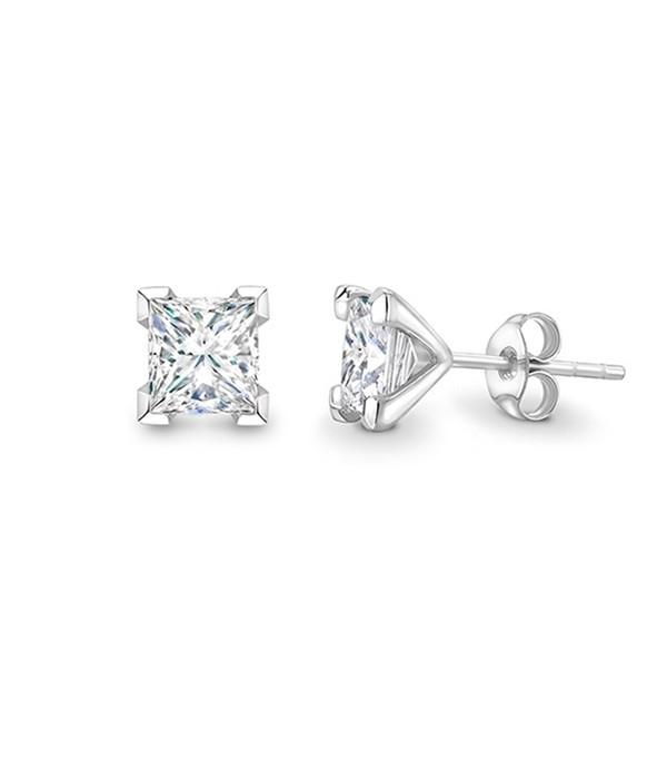 """Pendientes """"Surya"""" dormilona oro blanco con Diamantes talla Princesa"""