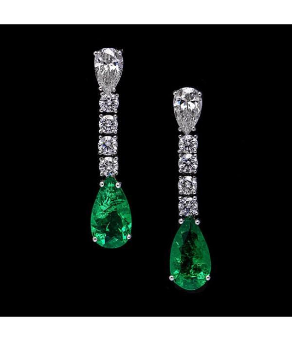 Pendientes Diamantes y Esmeraldas - PC 57