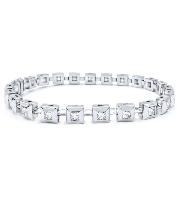 """Pulsera """"PrincessCUT"""" Oro blanco Diamantes Talla Princesa"""