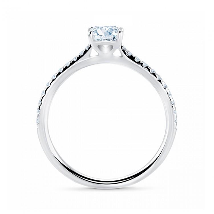 """Itami"" Anillo novia oro blanco 18k diamante 0.50 talla princesa"