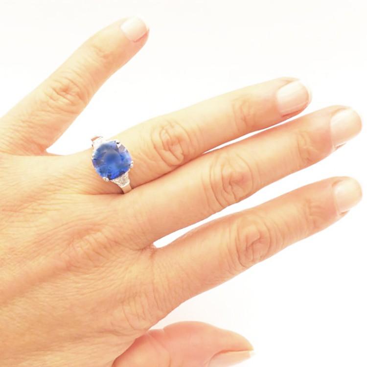 Anillo Aniversario Zafiro Azul y Brillantes Oro Blanco -SCE 24
