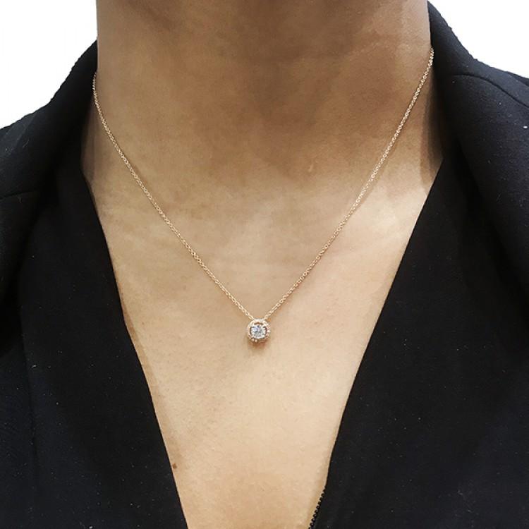 "Collar Oro Amarillo con Diamantes y brillantes ""Sun 2""  CR 5 OA"
