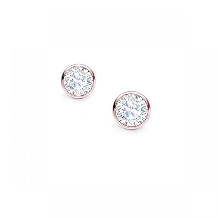 """Dormilonas Pendientes Oro Rosa Diamante """"Chatón"""" PR 16 OR"""