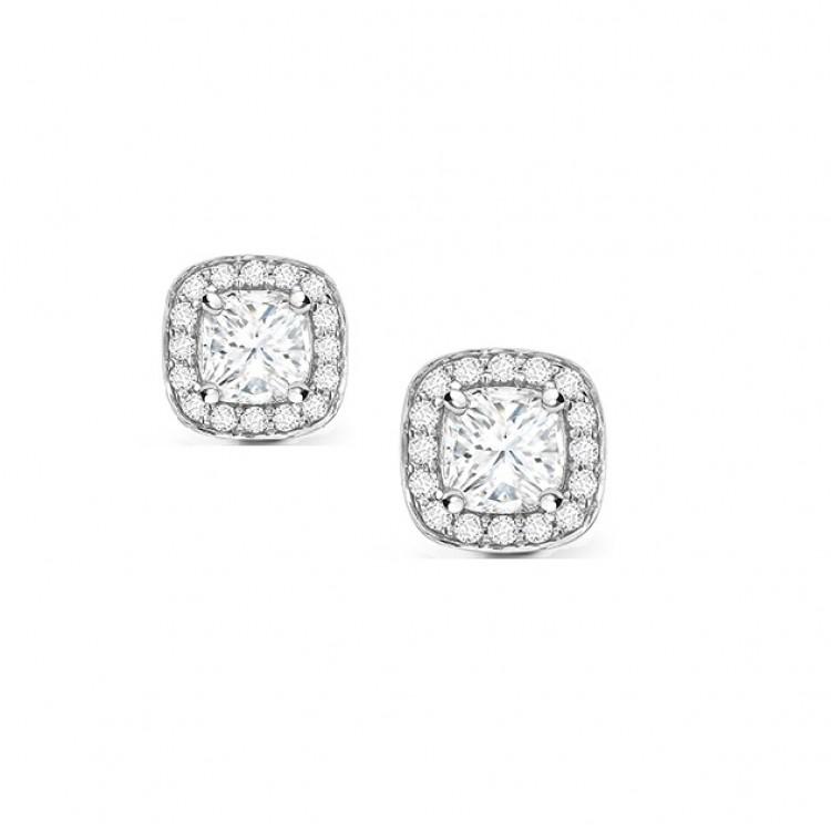 """Pendientes """"Otis"""" cuadrados con Orla de Diamantes - PR 26"""