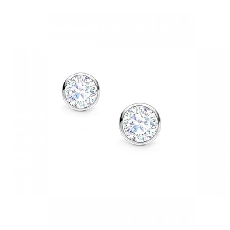Pendientes Dormilonas en chatón con Diamantes oro Blanco  PR 16