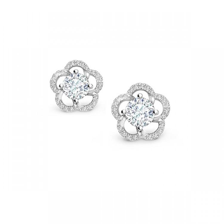 Pendientes oro blanco y diamantes para Novia, clásicos y elegantes