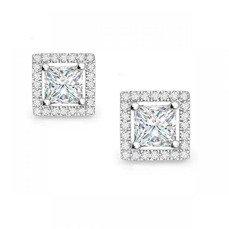Pendiente Diamante Talla Princesa y Orla de Brillantes - PR 12
