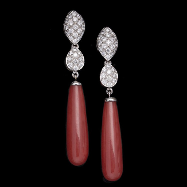 Pendientes Coral Diamantes - PC 0/2