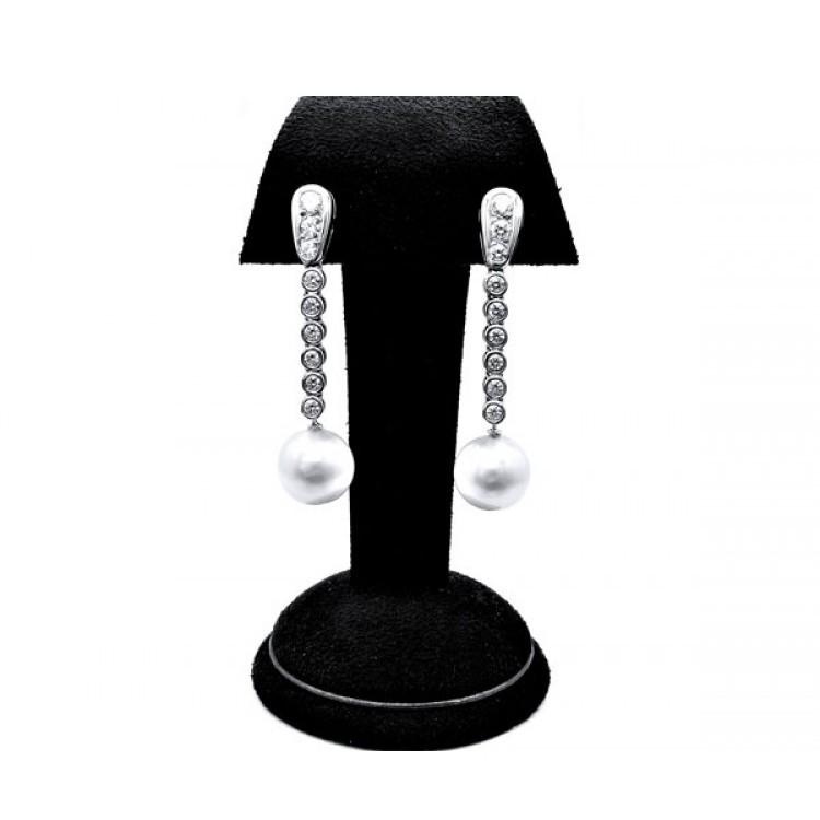 Pendientes largos Perlas Australianas y diamantes - PA 2