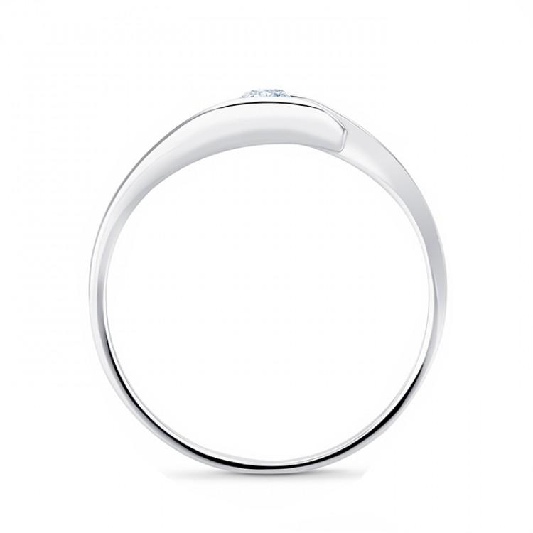"""Solitario Oro Blanco y Diamante """"Hikari S"""" 0.30 cts. diseño moderno"""