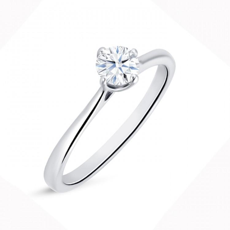 "Anillo Solitario Diamante ""Ikeda S"" Oro blanco 0.30 cts"
