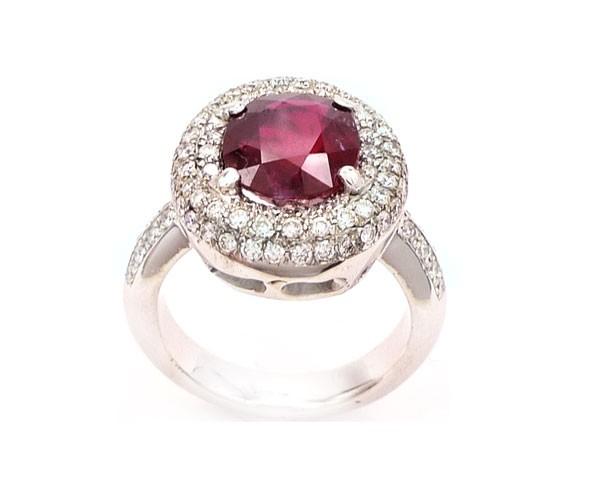 anillos rubi diamantes