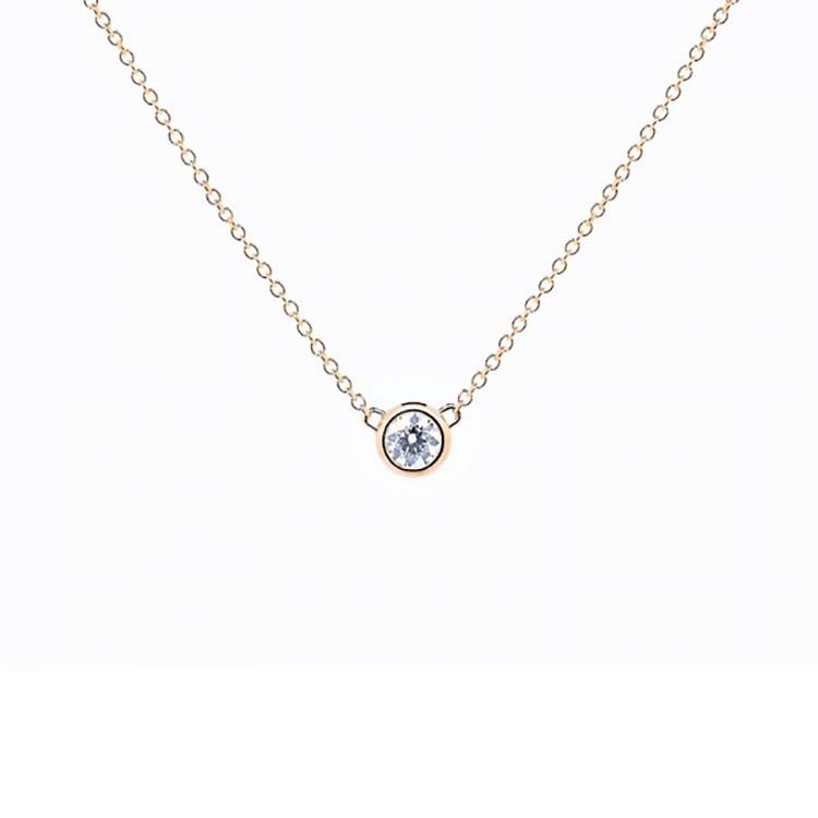 colgante diamante oro rosa chatón