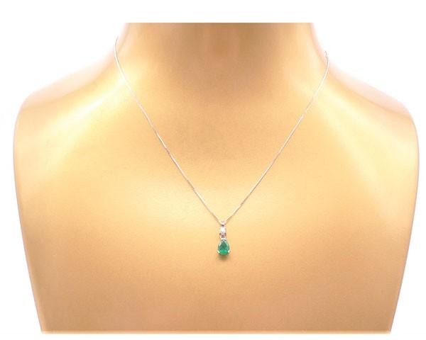 colgante esmeraldas diamantes oro blanco