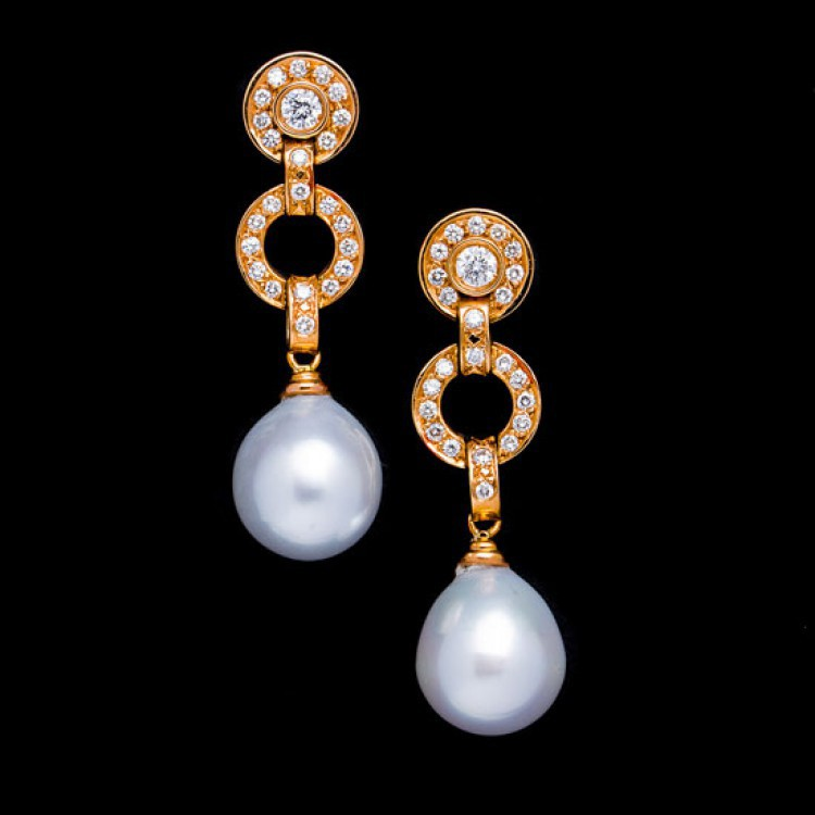 pendientes largos perlas