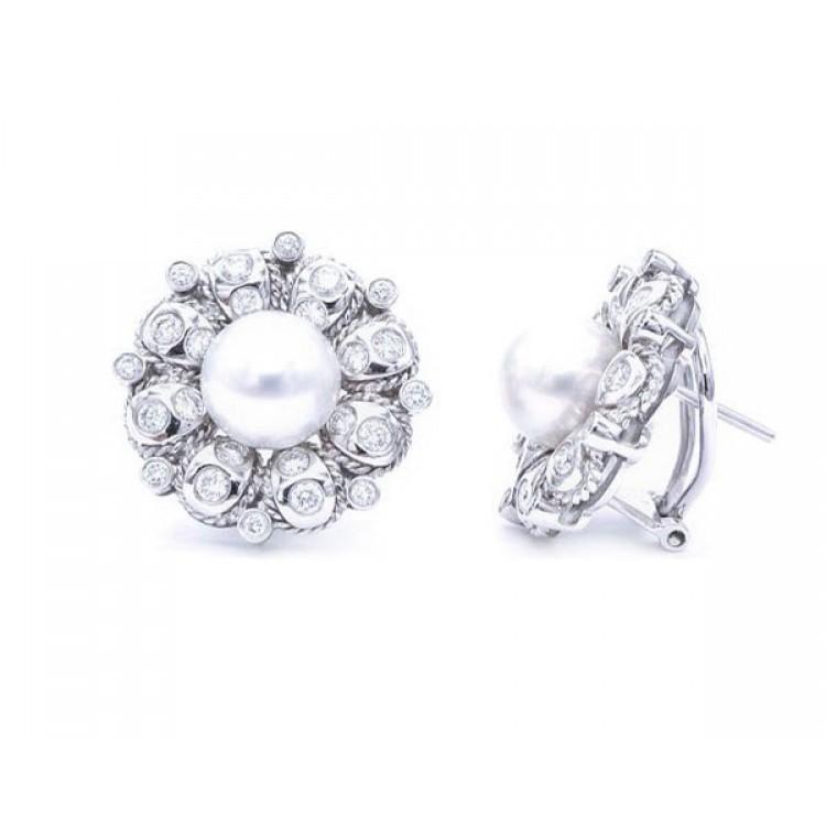 pendientes perlas con diamantes