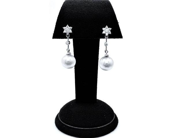 pendientes diamantes perlas