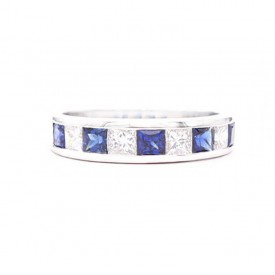 alianza de zafiros con diamantes